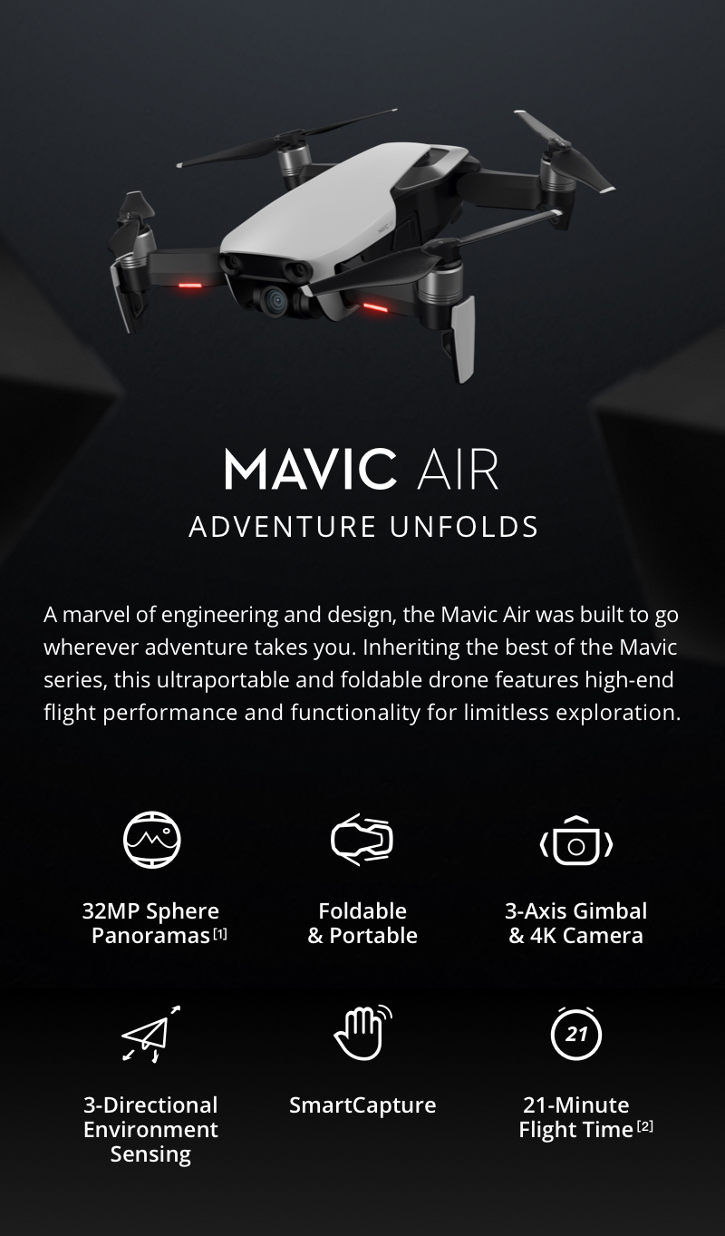Mavic Air - Ultraportable 4K Quadcopter - Fly More Combo - Flame Red 14