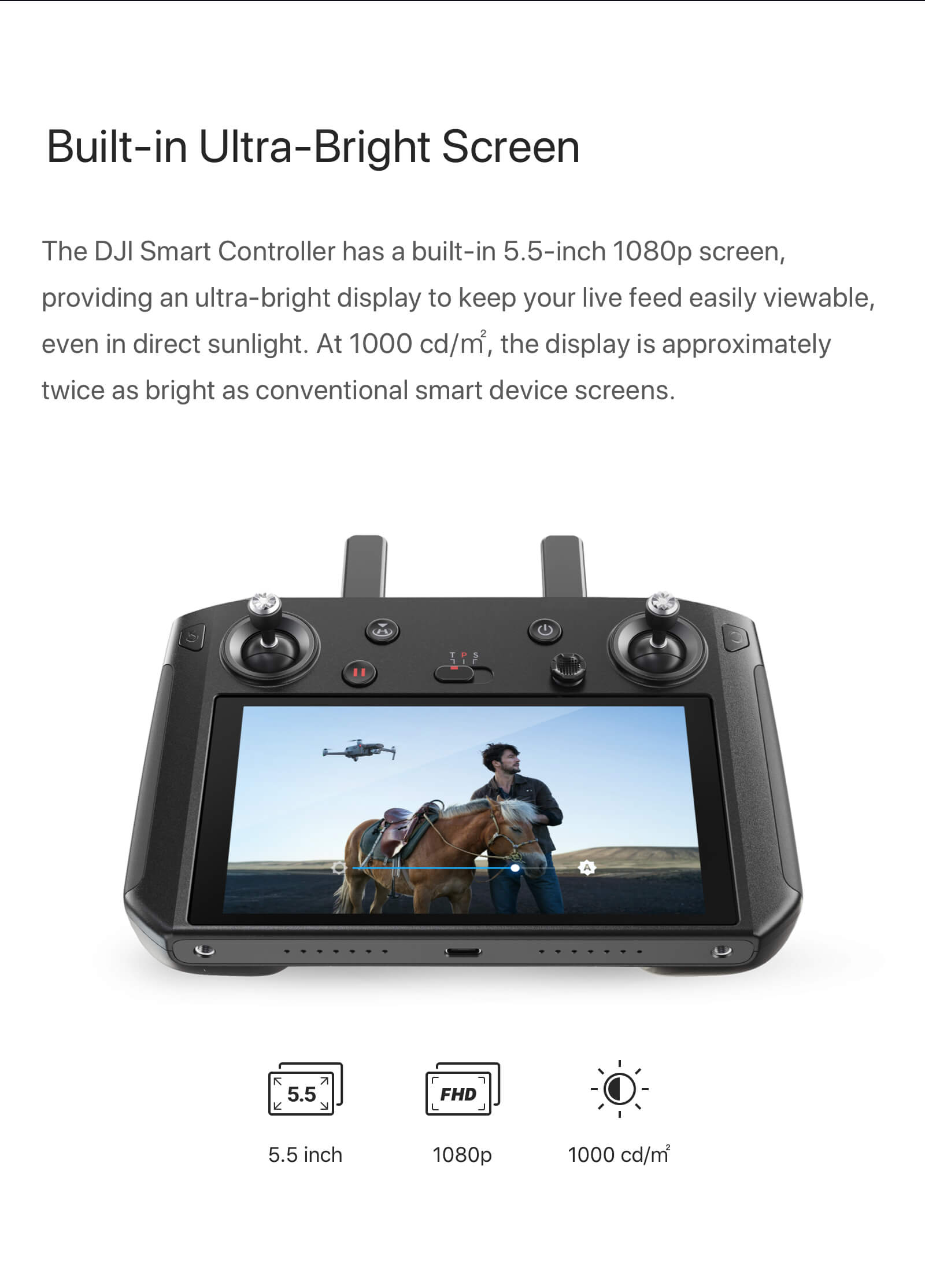 "DJI Smart Controller with 5.5"" 1080p Screen 4"